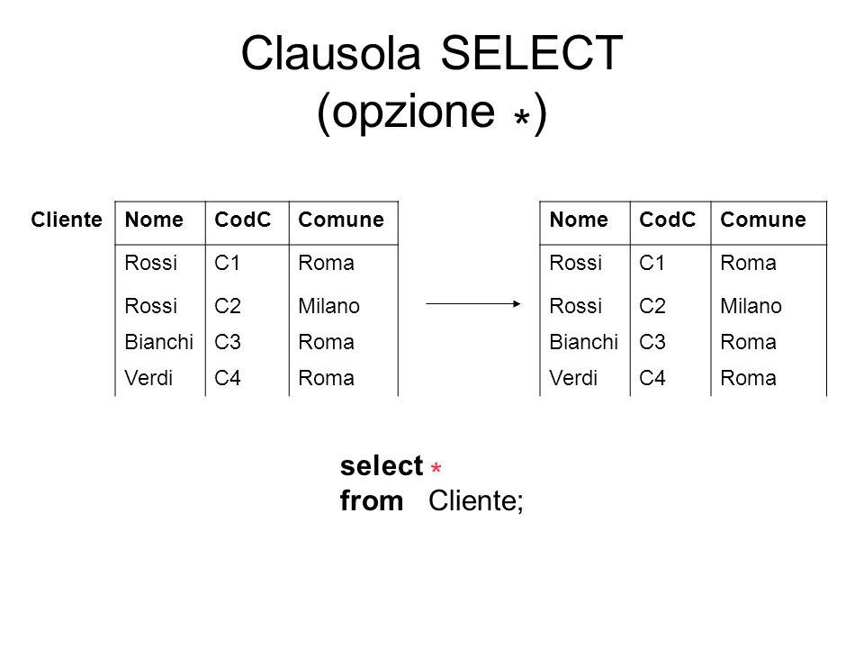 Clausola SELECT (opzione *)