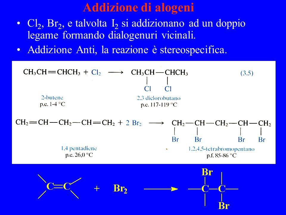 Addizione di alogeni Cl2, Br2, e talvolta I2 si addizionano ad un doppio legame formando dialogenuri vicinali.