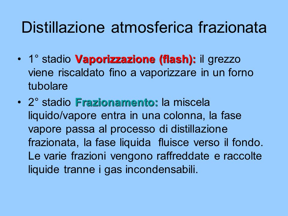 Distillazione atmosferica frazionata