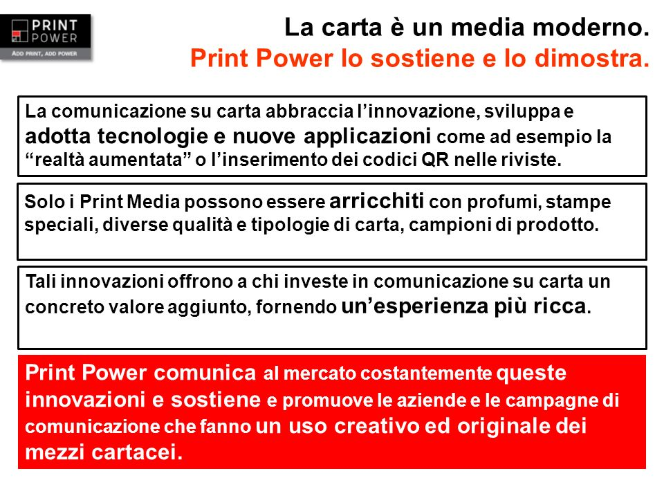 La carta è un media moderno. Print Power lo sostiene e lo dimostra.
