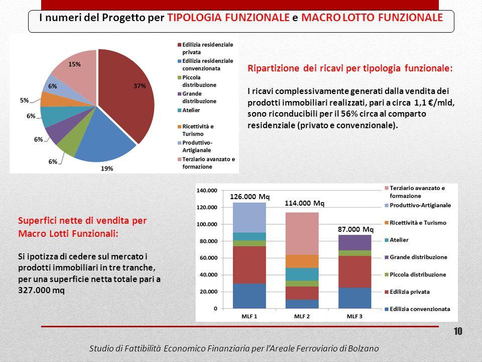 I numeri del Progetto per TIPOLOGIA FUNZIONALE e MACRO LOTTO FUNZIONALE