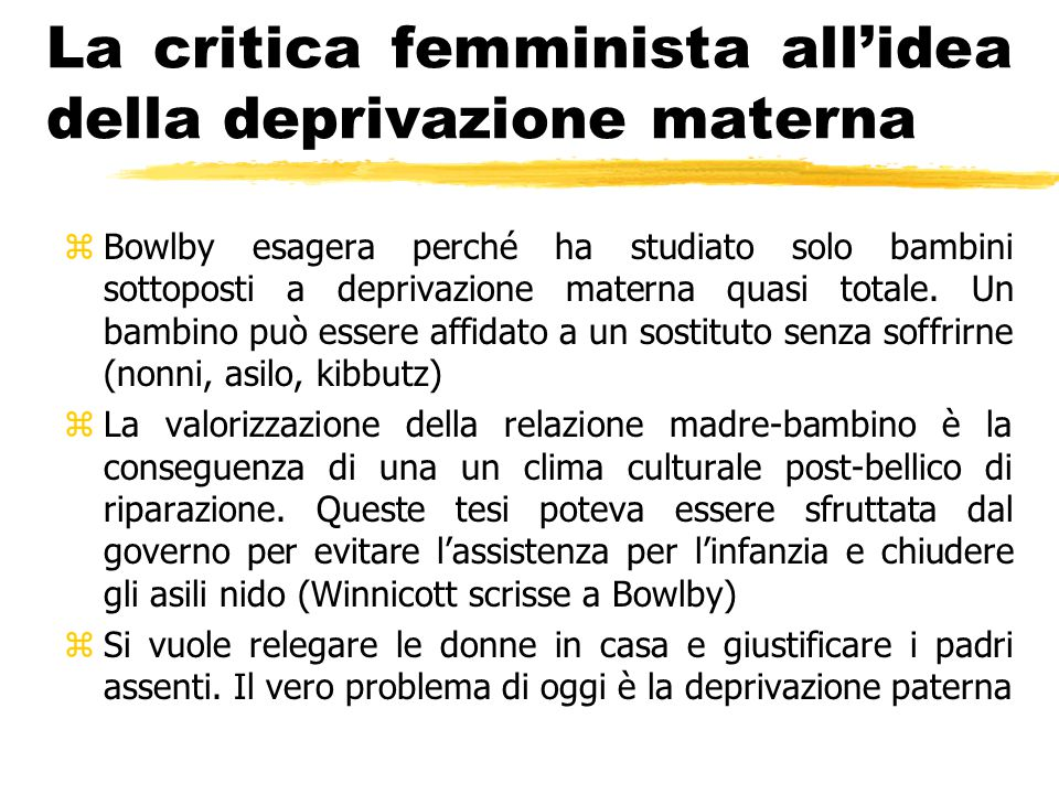 La critica femminista all'idea della deprivazione materna