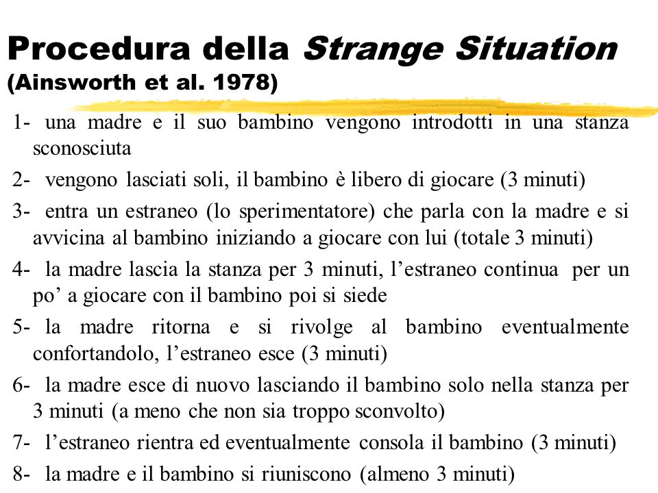 Procedura della Strange Situation (Ainsworth et al. 1978)