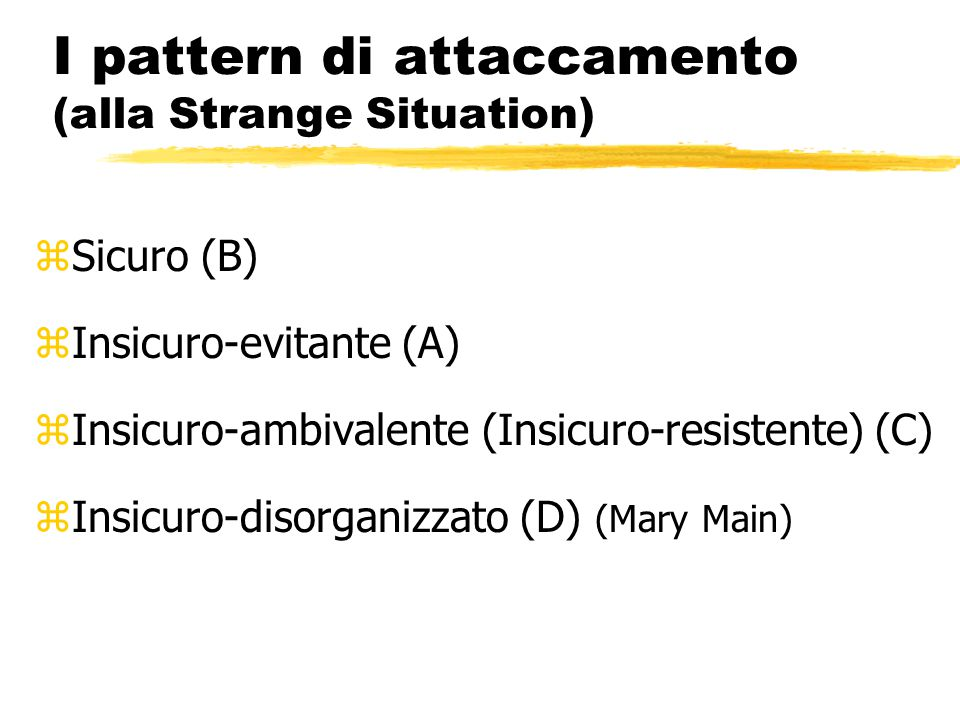 I pattern di attaccamento (alla Strange Situation)