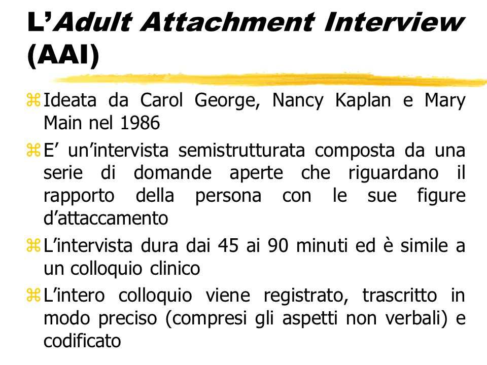 L'Adult Attachment Interview (AAI)