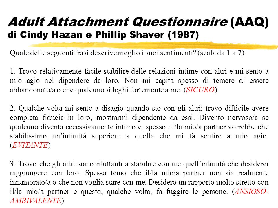 Adult Attachment Questionnaire (AAQ) di Cindy Hazan e Phillip Shaver (1987)