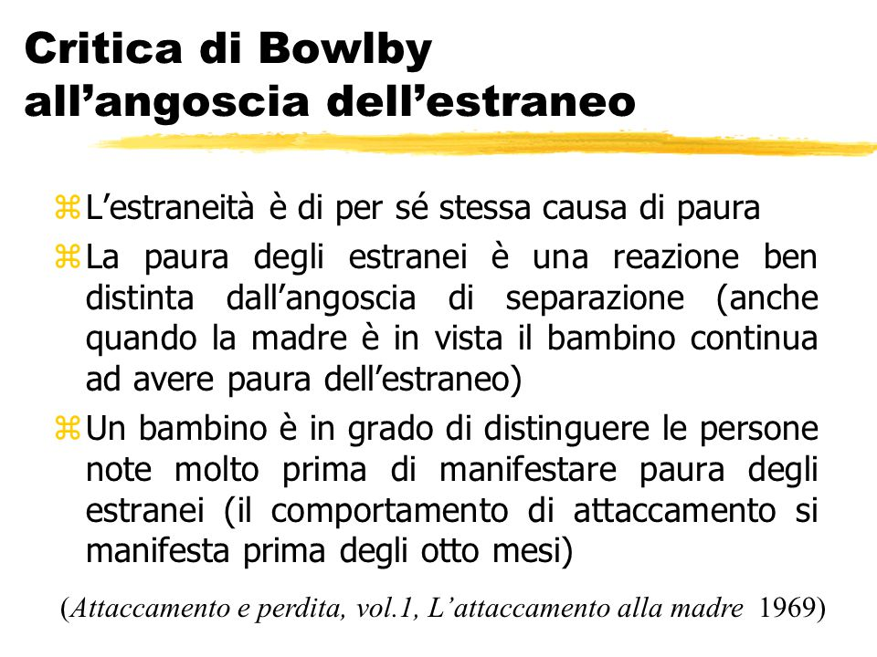 Critica di Bowlby all'angoscia dell'estraneo