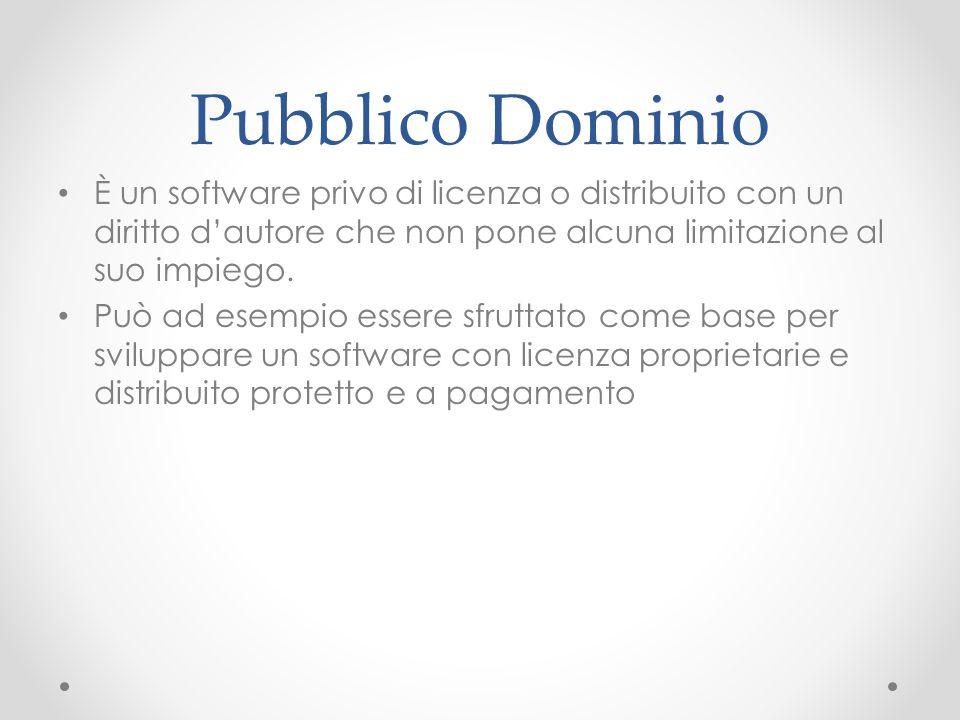 Pubblico Dominio È un software privo di licenza o distribuito con un diritto d'autore che non pone alcuna limitazione al suo impiego.