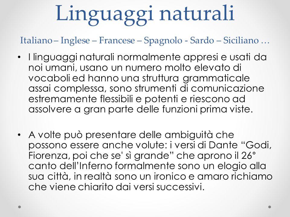 Linguaggi naturali Italiano – Inglese – Francese – Spagnolo - Sardo – Siciliano …