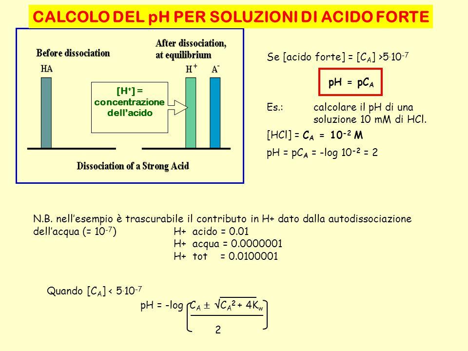 CALCOLO DEL pH PER SOLUZIONI DI ACIDO FORTE concentrazione dell'acido