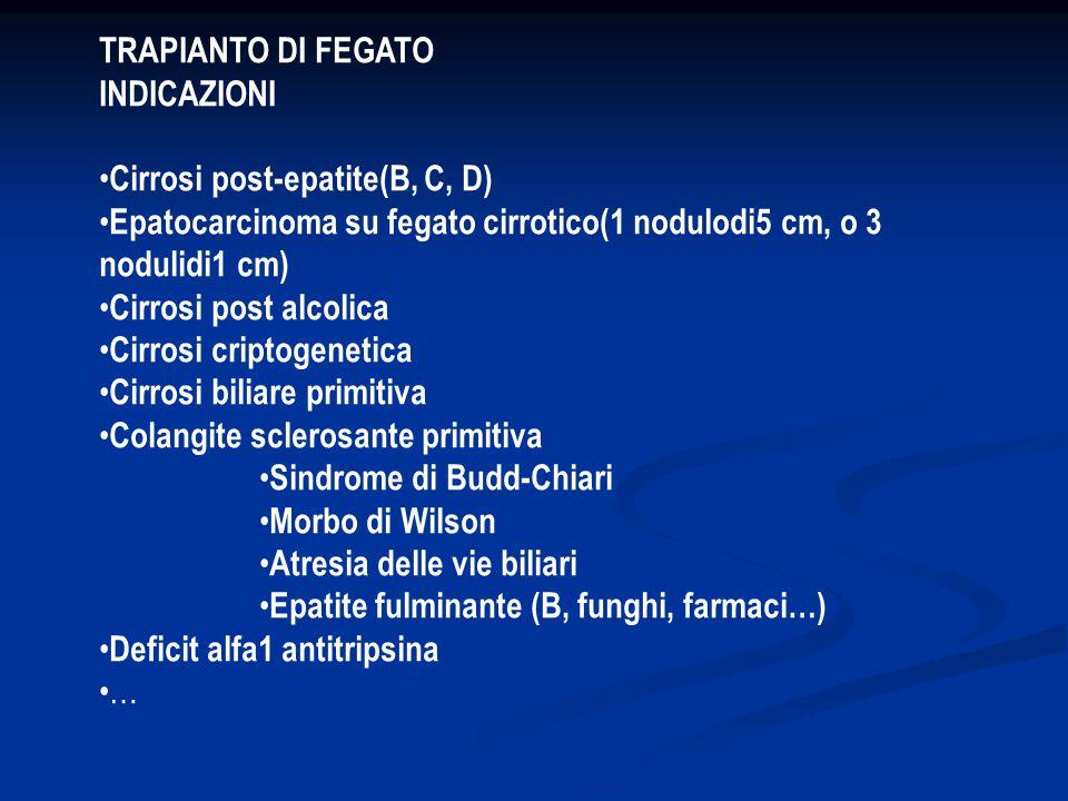 TRAPIANTO DI FEGATO INDICAZIONI. •Cirrosi post-epatite(B, C, D) •Epatocarcinoma su fegato cirrotico(1 nodulodi5 cm, o 3 nodulidi1 cm)