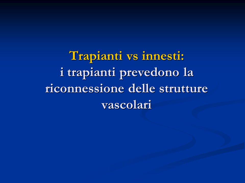 Trapianti vs innesti: i trapianti prevedono la riconnessione delle strutture vascolari