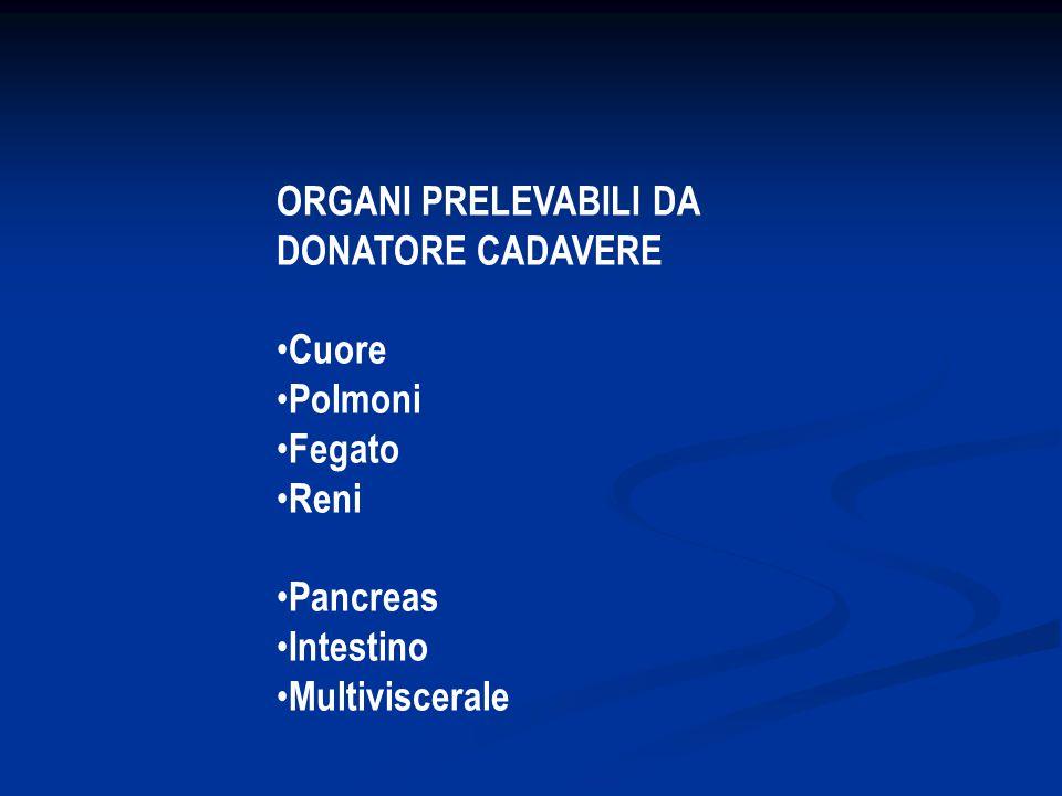ORGANI PRELEVABILI DA DONATORE CADAVERE