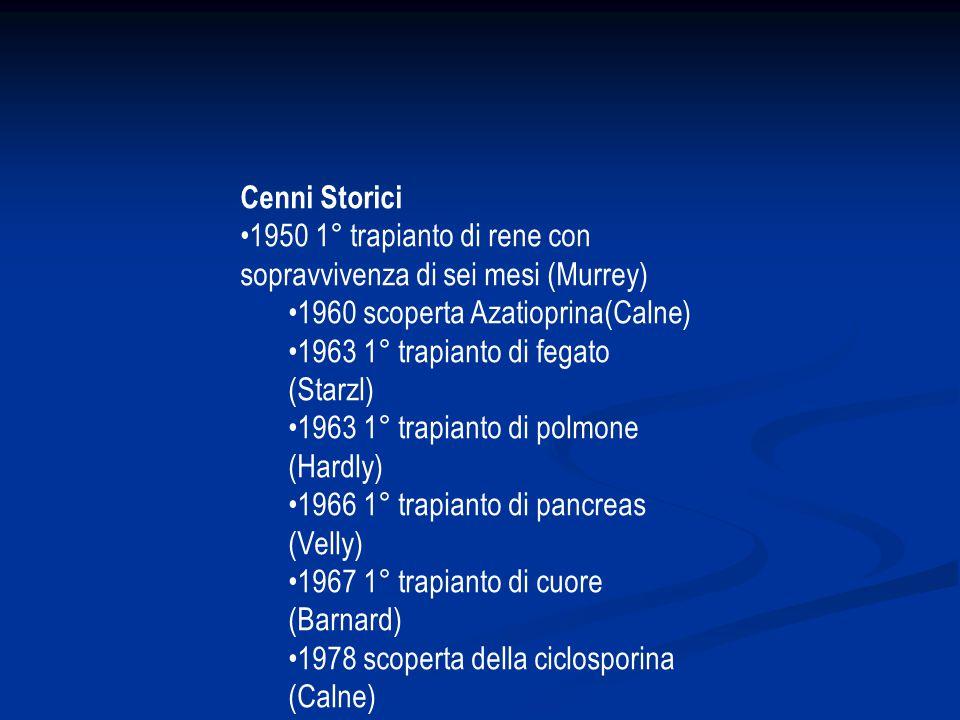 Cenni Storici •1950 1° trapianto di rene con sopravvivenza di sei mesi (Murrey) •1960 scoperta Azatioprina(Calne)