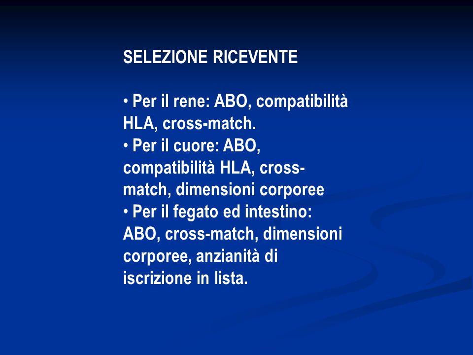 SELEZIONE RICEVENTE • Per il rene: ABO, compatibilità HLA, cross-match. • Per il cuore: ABO, compatibilità HLA, cross-match, dimensioni corporee.