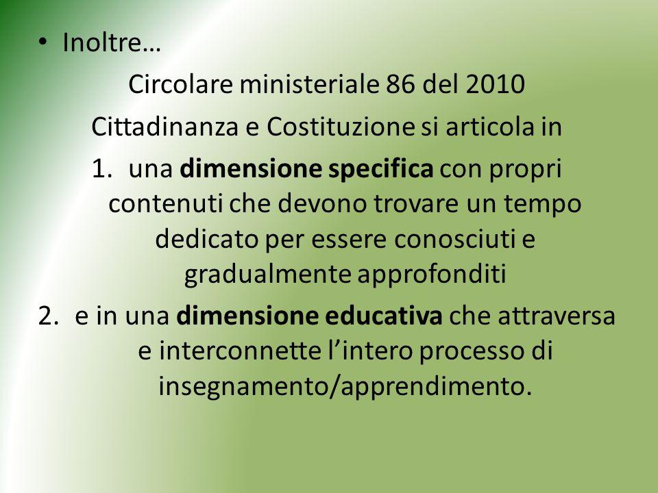 Circolare ministeriale 86 del 2010