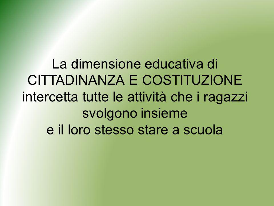 La dimensione educativa di CITTADINANZA E COSTITUZIONE