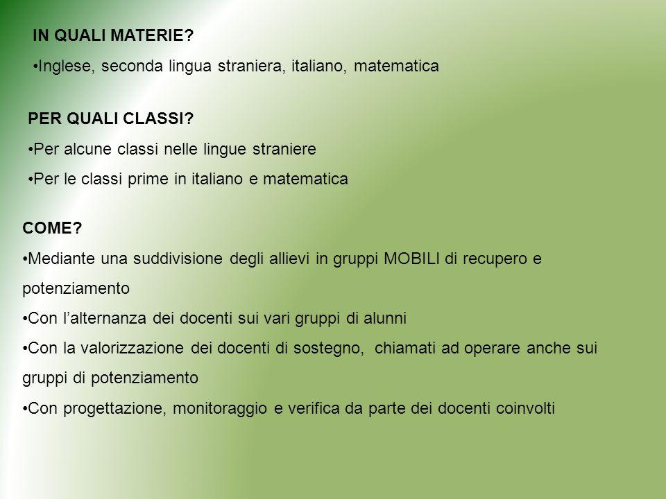 IN QUALI MATERIE Inglese, seconda lingua straniera, italiano, matematica. PER QUALI CLASSI Per alcune classi nelle lingue straniere.