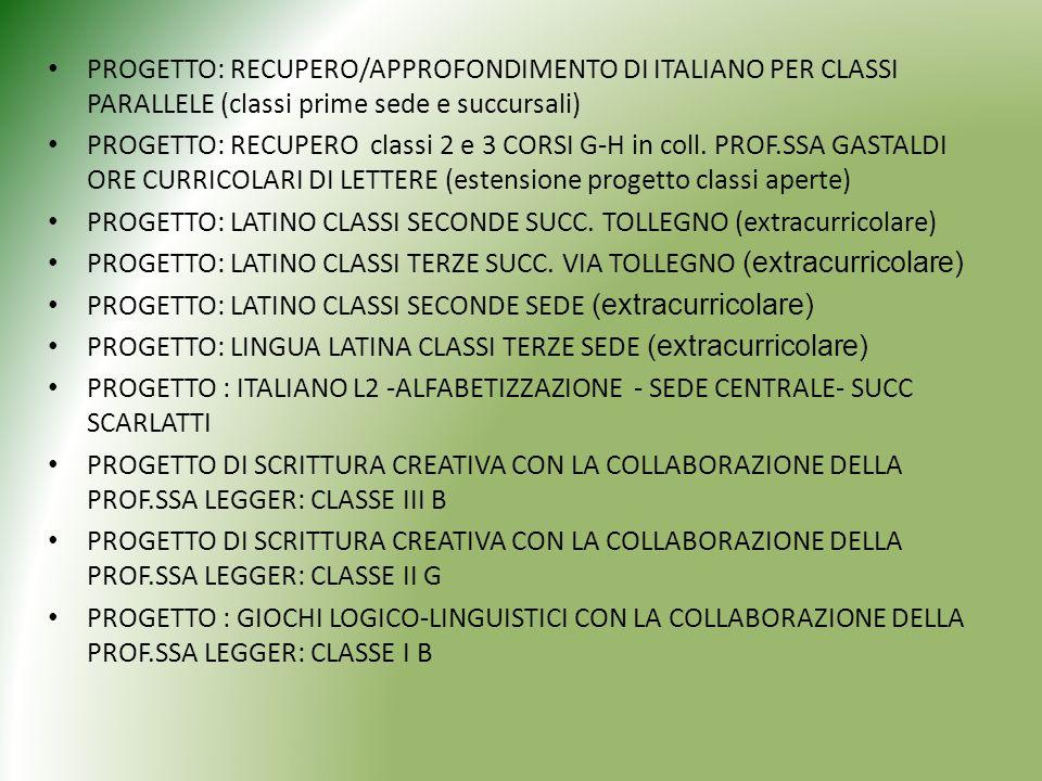 PROGETTO: RECUPERO/APPROFONDIMENTO DI ITALIANO PER CLASSI PARALLELE (classi prime sede e succursali)