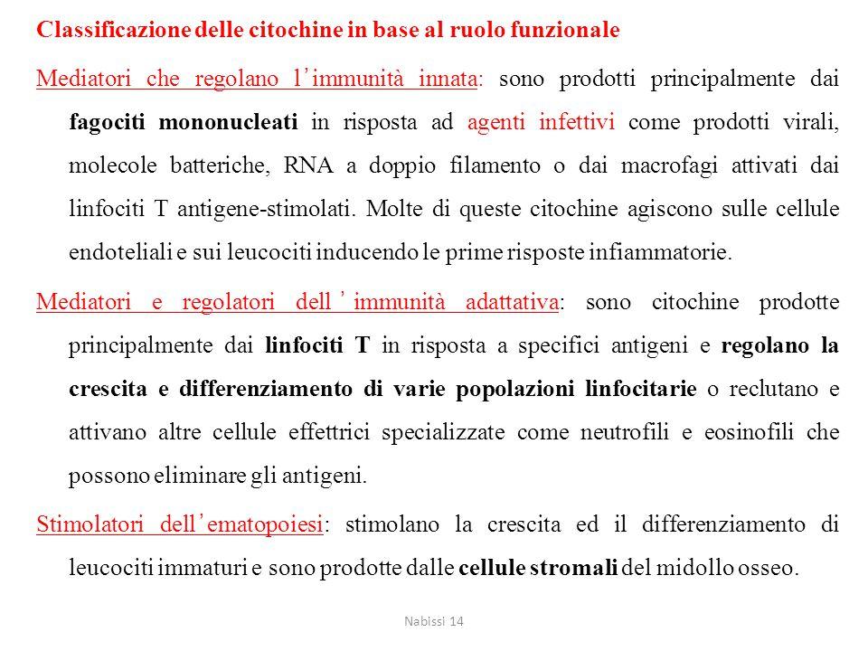 Classificazione delle citochine in base al ruolo funzionale
