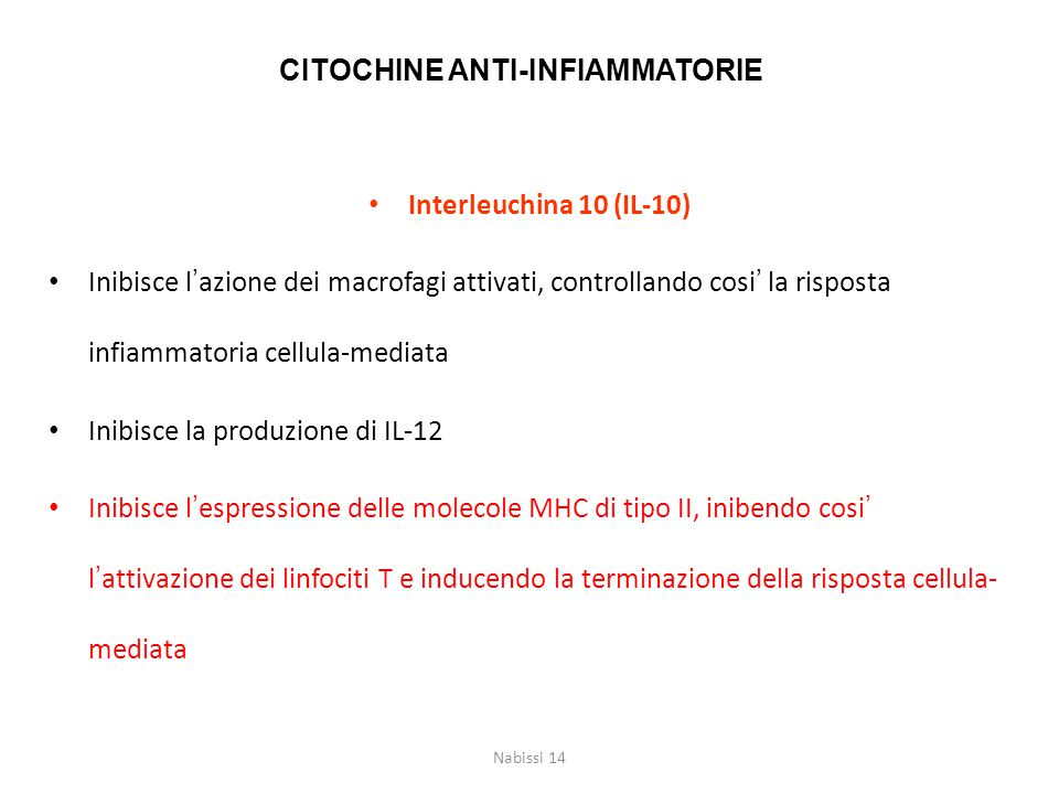 CITOCHINE ANTI-INFIAMMATORIE