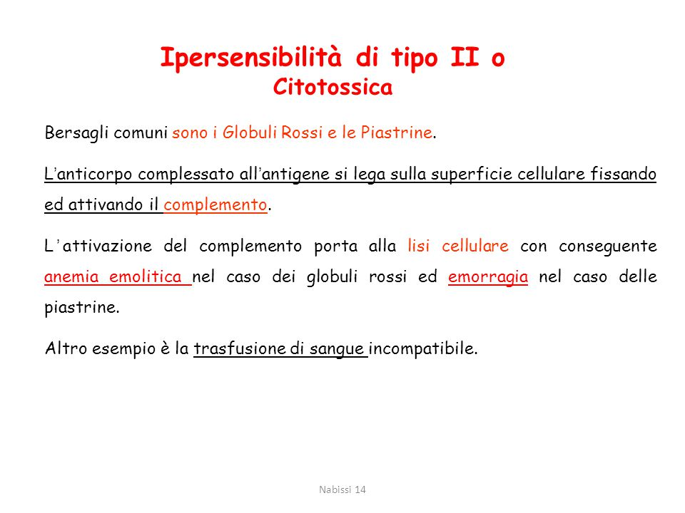 Ipersensibilità di tipo II o Citotossica