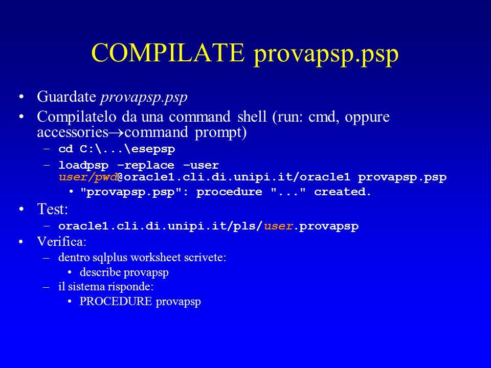 COMPILATE provapsp.psp