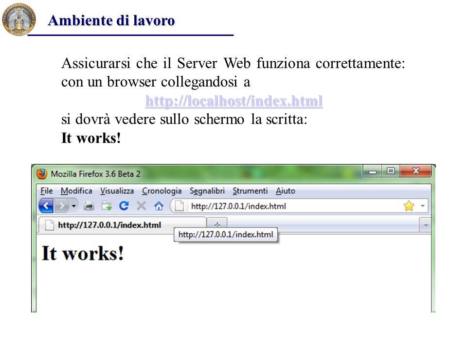 Ambiente di lavoro Assicurarsi che il Server Web funziona correttamente: con un browser collegandosi a.