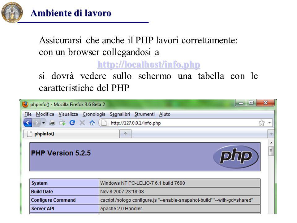 Ambiente di lavoro Assicurarsi che anche il PHP lavori correttamente: con un browser collegandosi a.