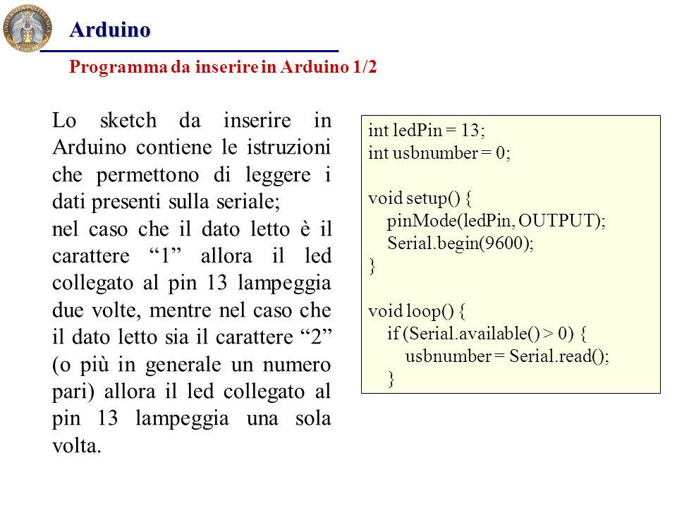 Arduino Programma da inserire in Arduino 1/2.