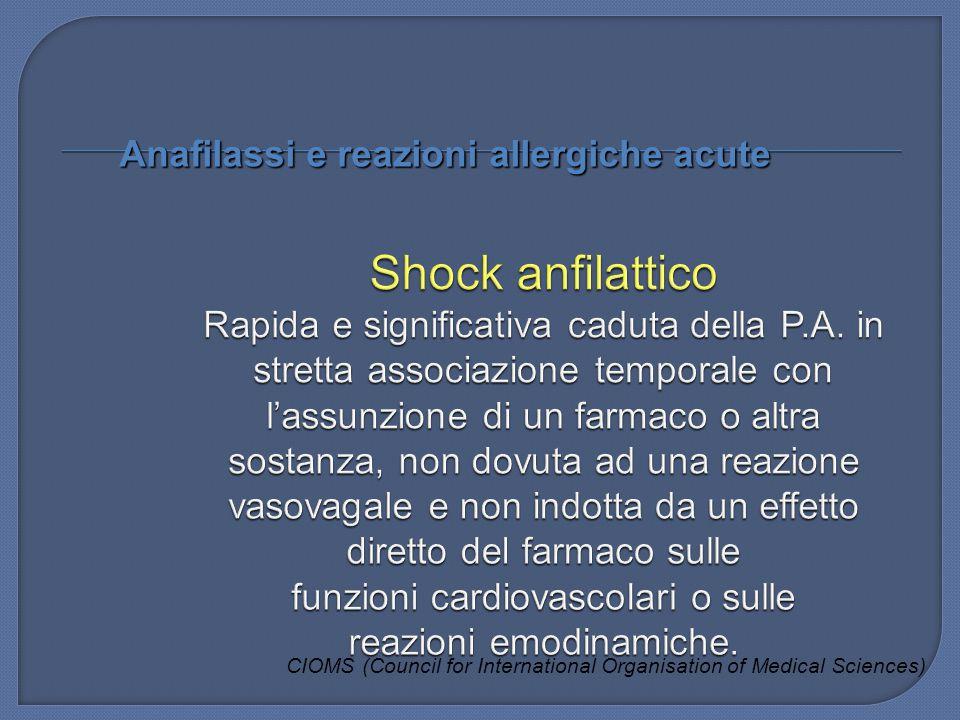 Anafilassi e reazioni allergiche acute