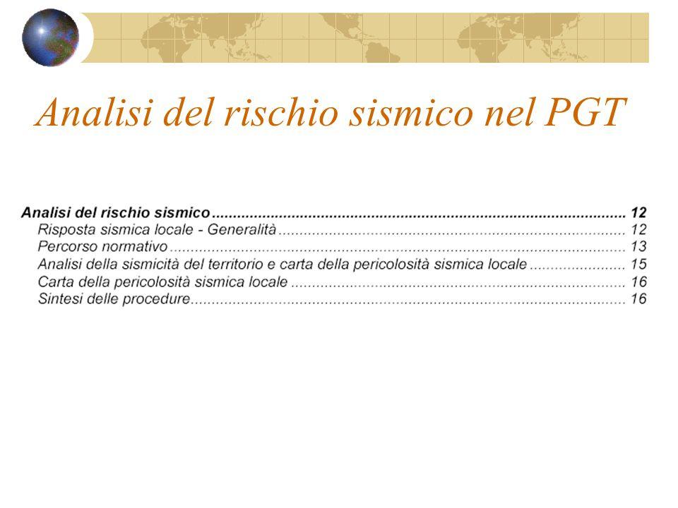 Analisi del rischio sismico nel PGT