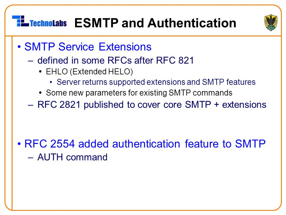 ESMTP and Authentication