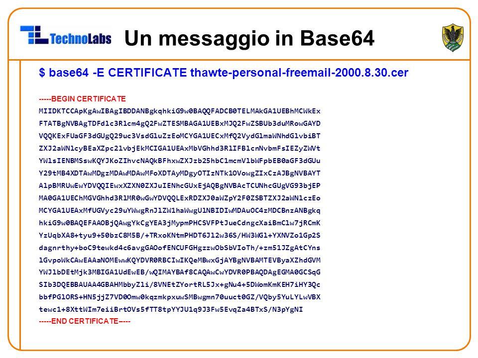 Un messaggio in Base64 $ base64 -E CERTIFICATE thawte-personal-freemail-2000.8.30.cer. -----BEGIN CERTIFICATE.