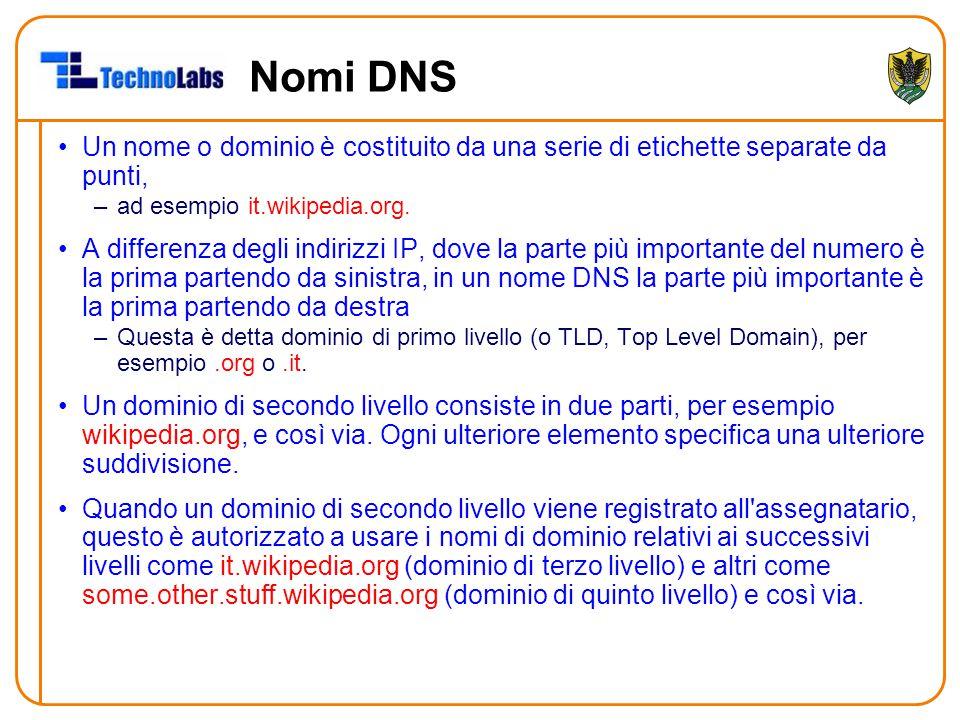 Nomi DNS Un nome o dominio è costituito da una serie di etichette separate da punti, ad esempio it.wikipedia.org.
