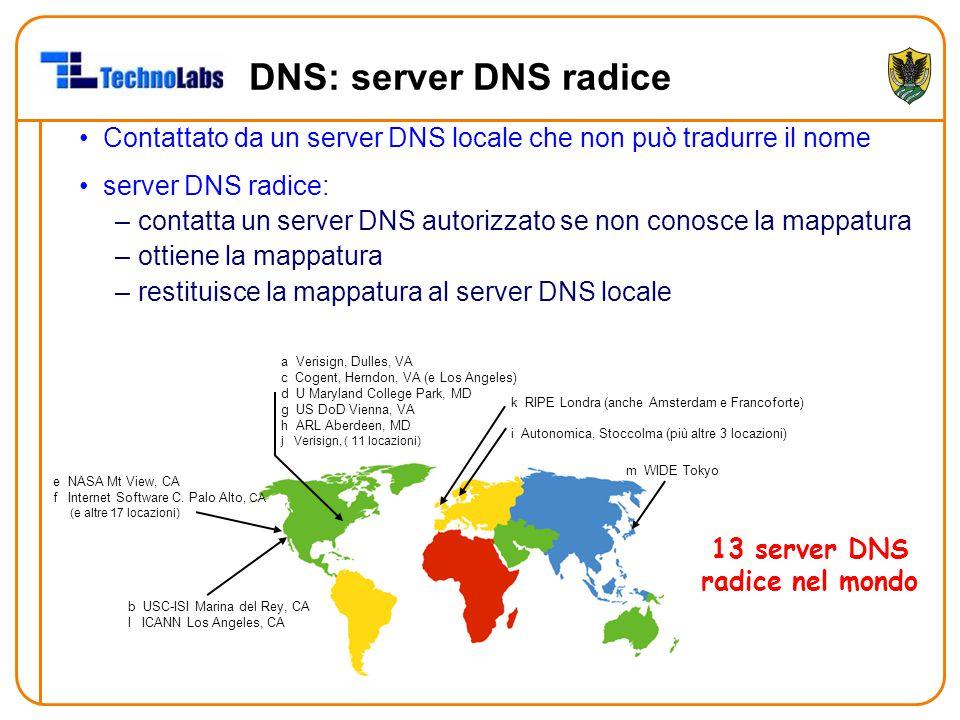 DNS: server DNS radice Contattato da un server DNS locale che non può tradurre il nome. server DNS radice: