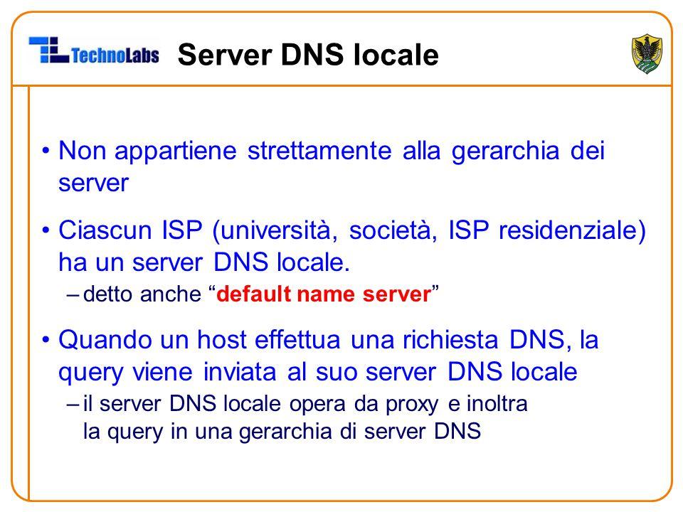 Server DNS locale Non appartiene strettamente alla gerarchia dei server.