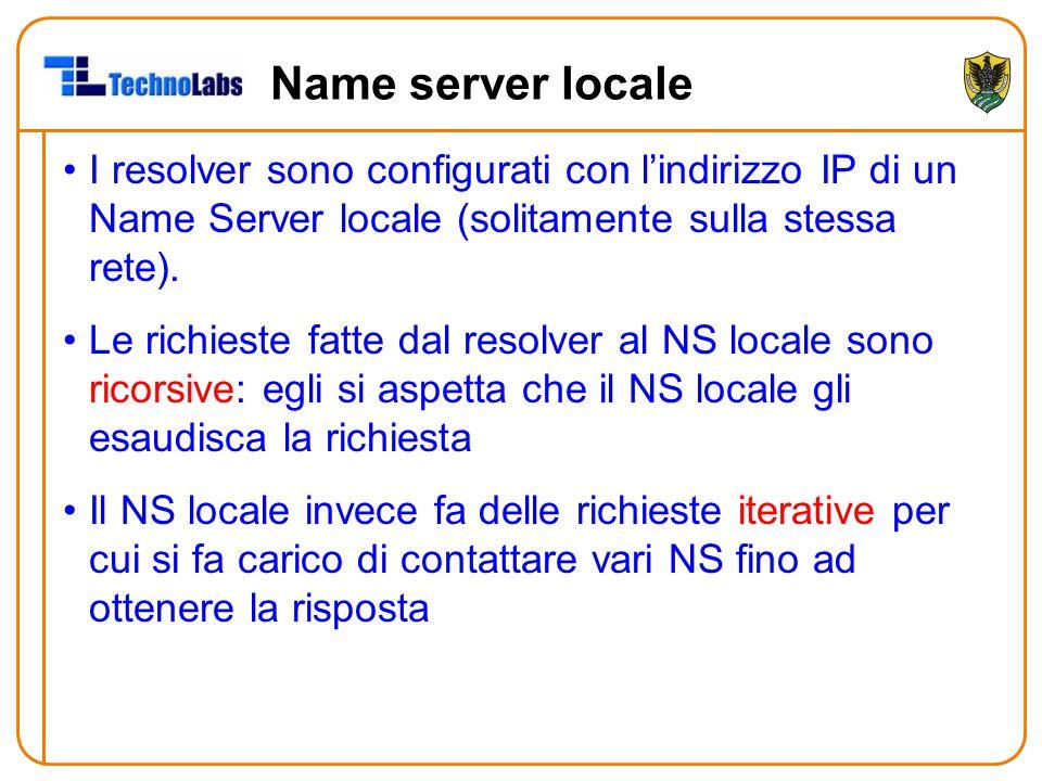 Name server locale I resolver sono configurati con l'indirizzo IP di un Name Server locale (solitamente sulla stessa rete).