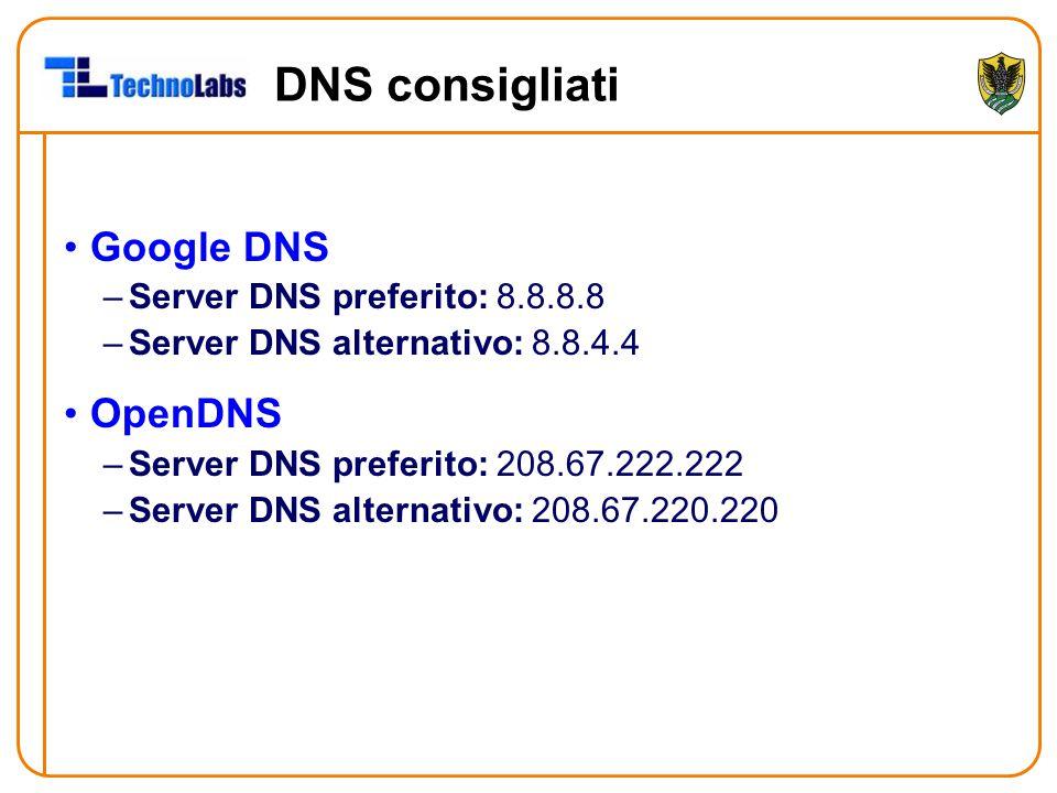 DNS consigliati Google DNS OpenDNS Server DNS preferito: 8.8.8.8