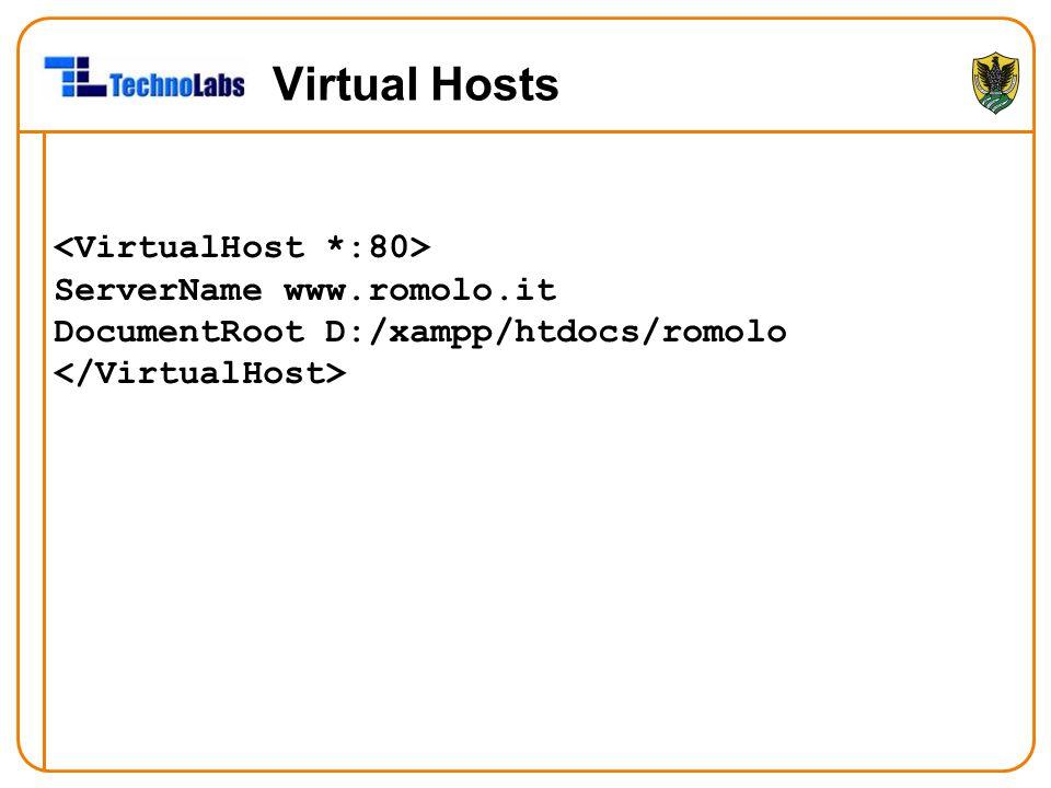 Virtual Hosts <VirtualHost *:80> ServerName www.romolo.it