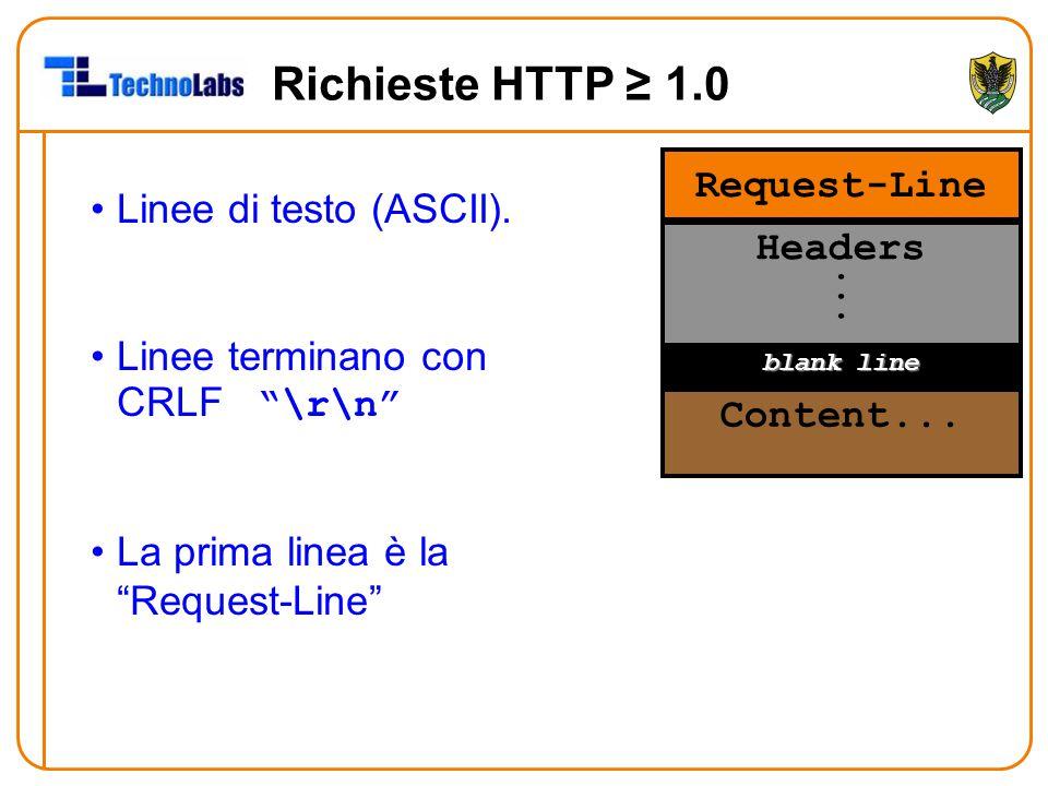 Richieste HTTP ≥ 1.0 Request-Line Linee di testo (ASCII). Headers