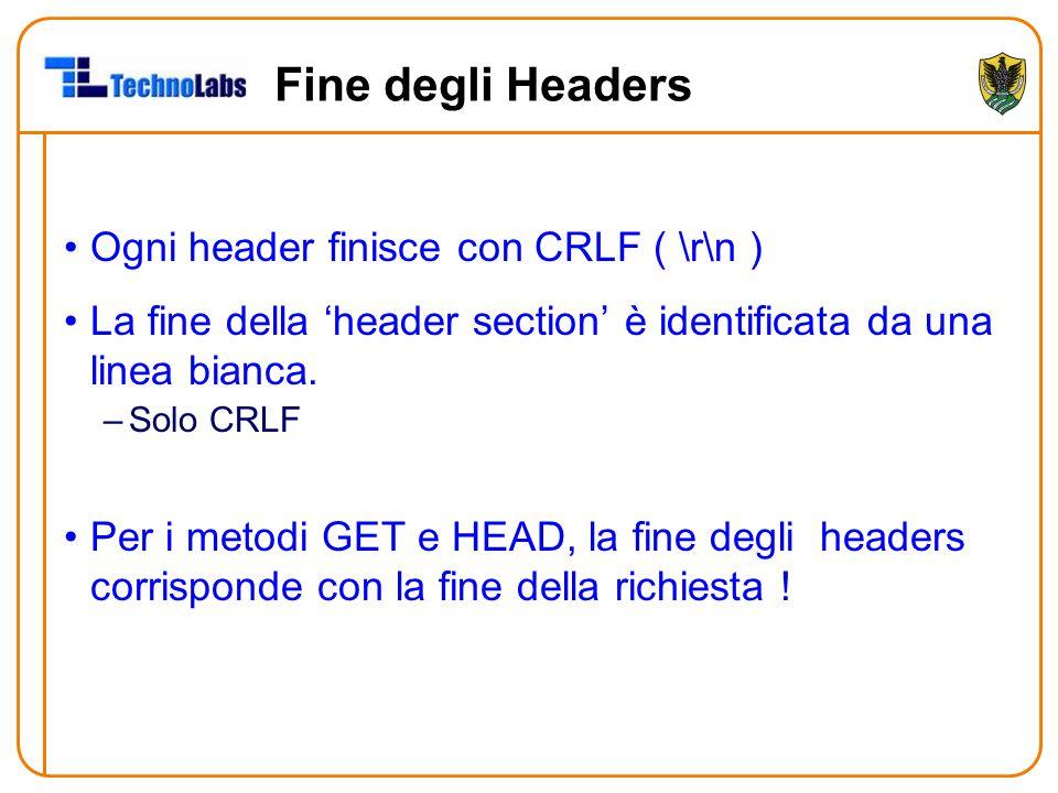 Fine degli Headers Ogni header finisce con CRLF ( \r\n )