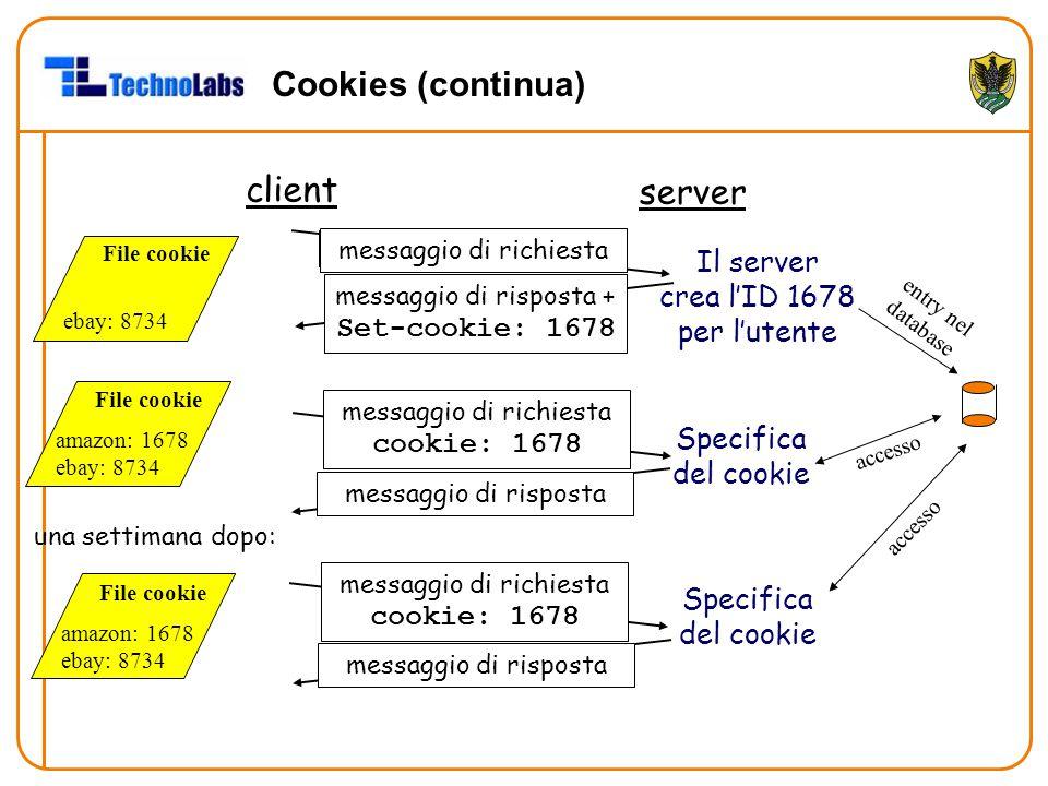 Cookies (continua) client server Il server crea l'ID 1678 per l'utente