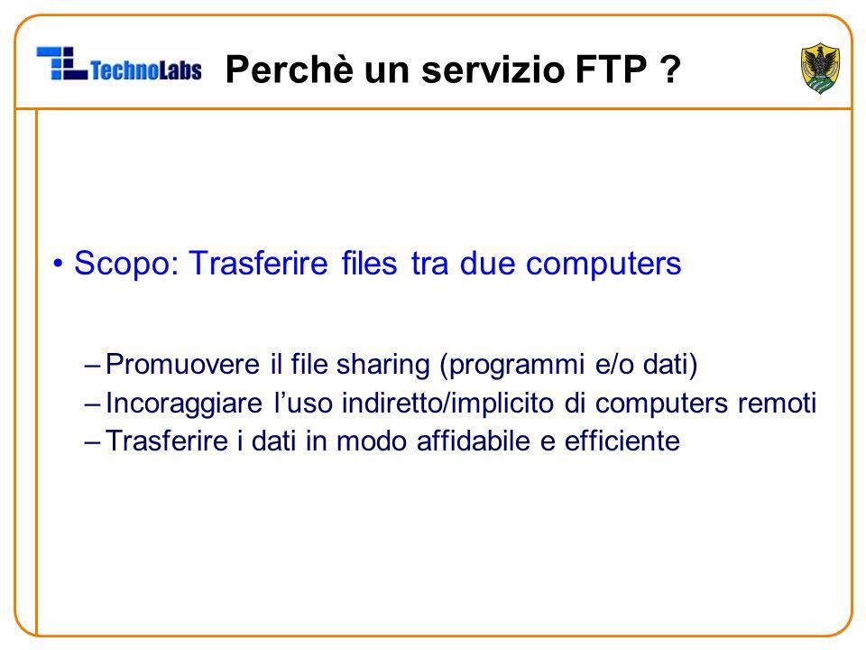 Perchè un servizio FTP Scopo: Trasferire files tra due computers