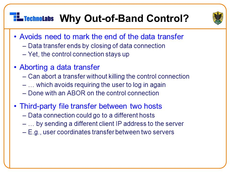 Why Out-of-Band Control