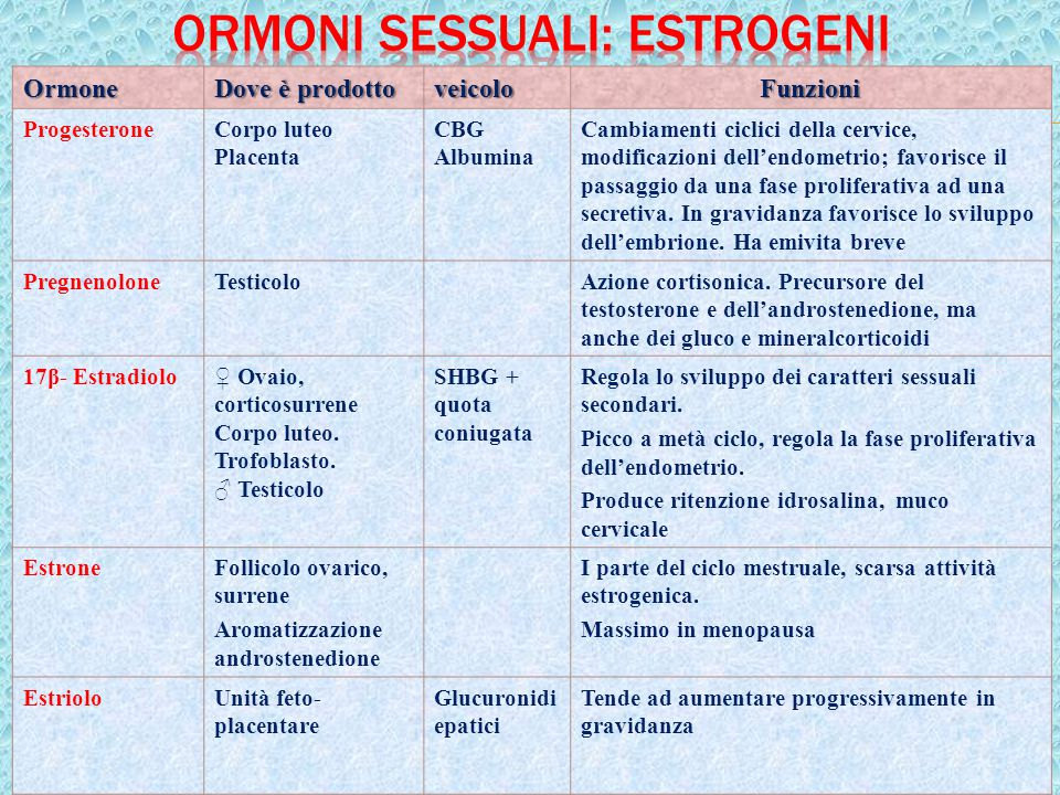 Ormoni sessuali: estrogeni