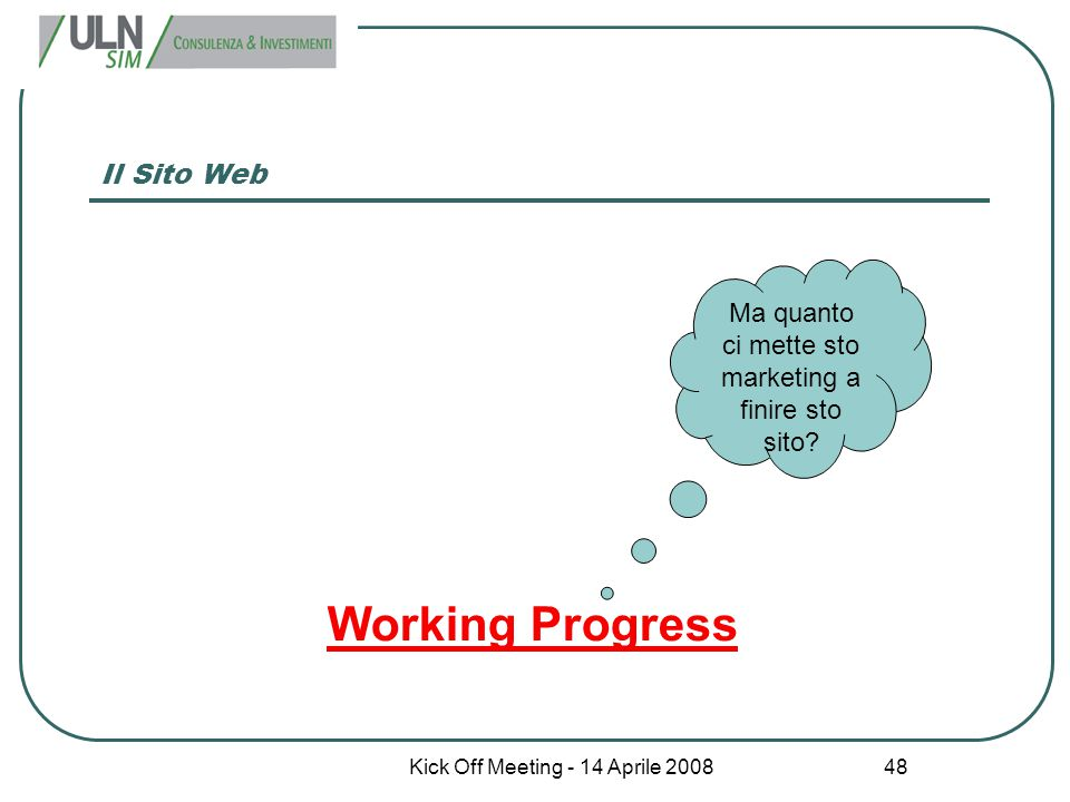 Working Progress Il Sito Web