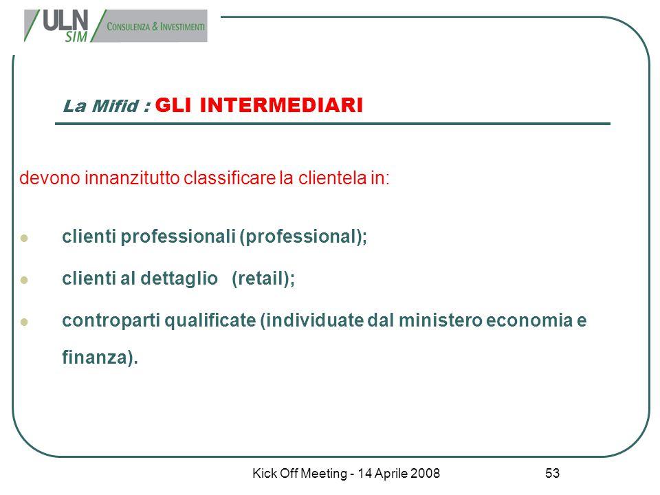 La Mifid : GLI INTERMEDIARI