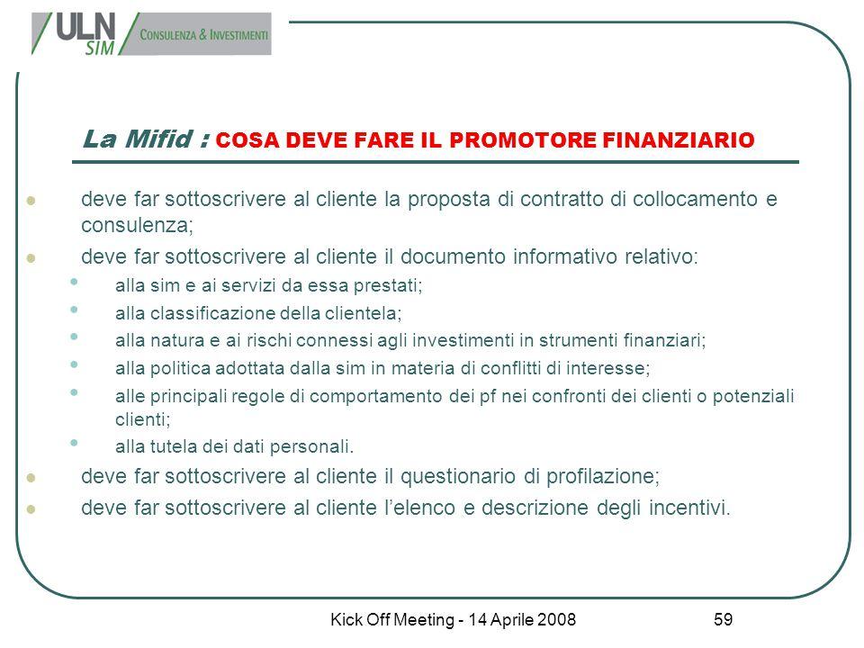 La Mifid : COSA DEVE FARE IL PROMOTORE FINANZIARIO