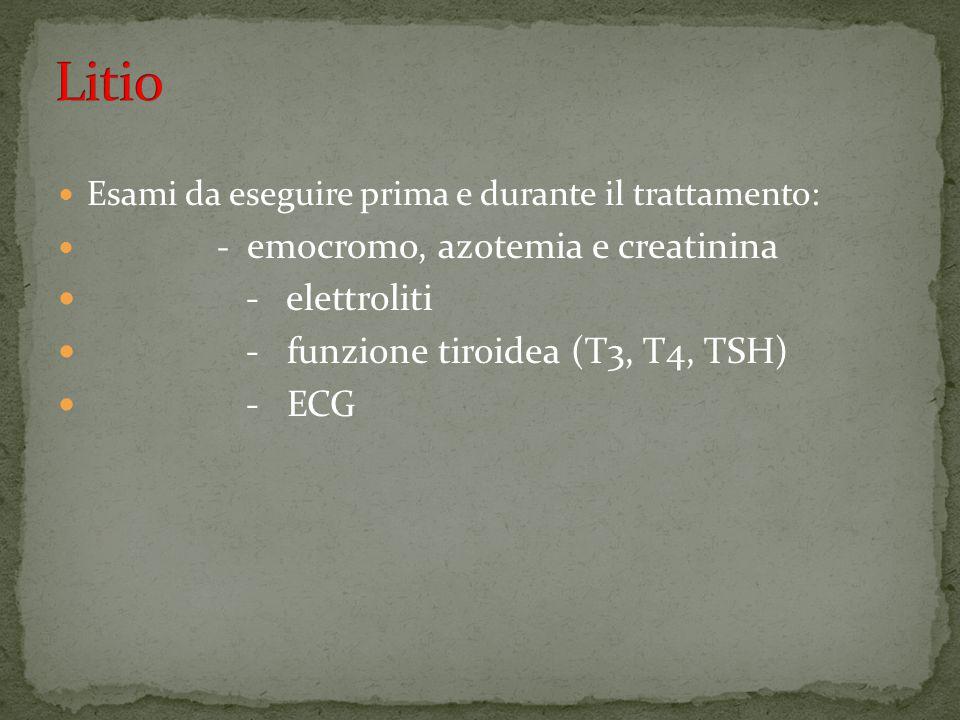 Litio - elettroliti - funzione tiroidea (T3, T4, TSH) - ECG